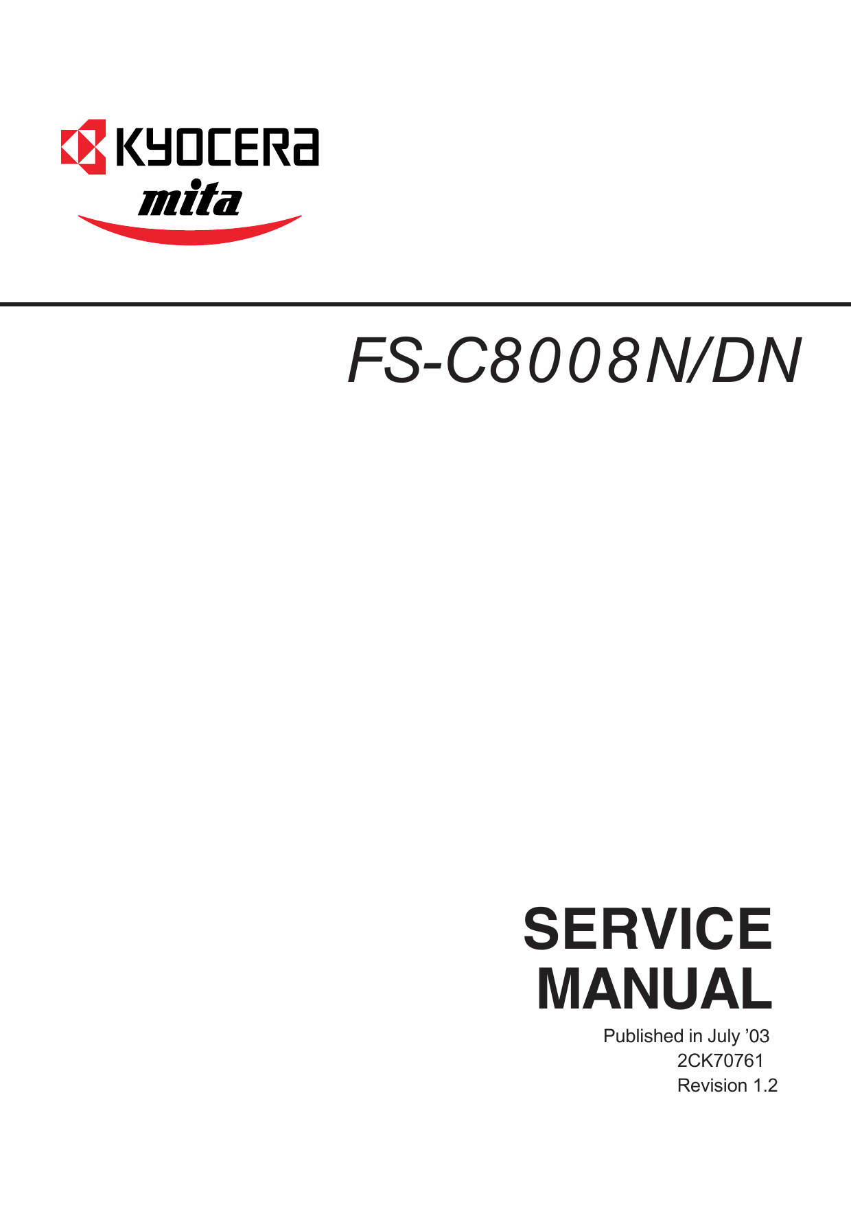 KYOCERA ColorLaserPrinter FS-C8008N DN Parts and Service Manual-1